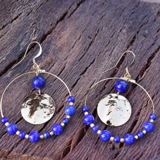 créoles plaqué or lapis lazuli