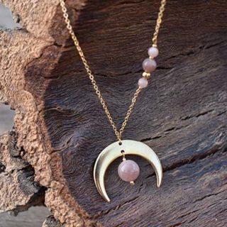 pierre de lune plaqué or lumi