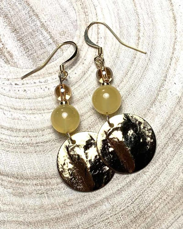 boucles d'oreilles lumi plaqué or calcite quartz