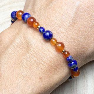 bracelet lapis lazuli cornaline plaqué or lumi